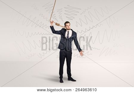 Hopeless young businessman trying to suicide with question signs concept stock photo