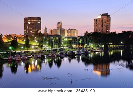 Downtown Augusta, Georgia sits on the Savannah River and is the second most populous city in the sta