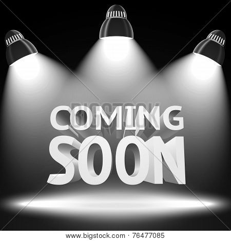 Stage with the spot light projectors lightning the -Coming Soon- message for your business, presentations, offers etc. Vector illustration stock photo