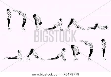 Suria Namaskar - Sun Salutation Complex Of Yoga Asanas stock photo