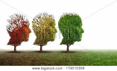 Dementia and mental health recovery treatment and Alzheimer brain memory disease therapy concept as old trees recovering as a neurology or psychology and psychiatry cure metaphor with 3D illustration elements on a white background.