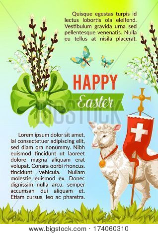 Happy Easter greeting poster of willow switches bow, crucifix cross symbol on flag and passover lamb. Vector paschal card template for catholic or orthodox resurrection sunday religious church holiday