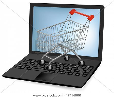 Vector illustration of a shopping art over a laptop. stock photo
