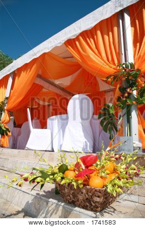 Orange basket. Exteroirs restaurant in the tropical stock photo