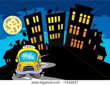 City silhouette with taxi and Moon - vector illustration. stock photo