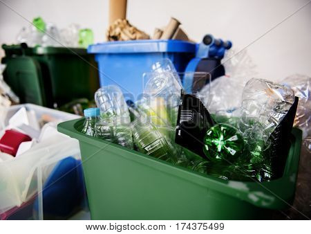Recyclable Trash with Plastic Glass Bottles and Papers