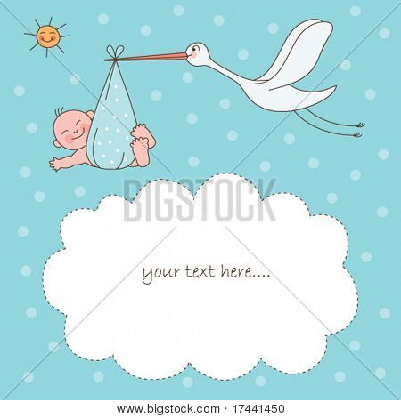 Baby boy arrival announcement card stock photo