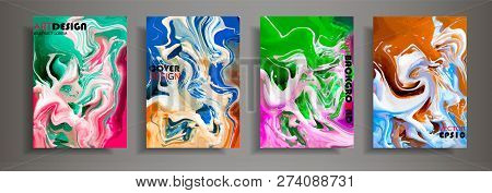 Modern design A4.Abstract marble texture of colored bright liquid paints.Splash of acrylic paints.Used design presentations, print,flyer,business cards,invitations, calendars,sites, packaging,cover. stock photo