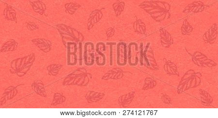 Flat vector with noise and texture. Tropical leaves Monstera on marble textured background. Bright, energetic color of Living Coral. Modern, fashionable color. Seamless pattern, place for text. stock photo