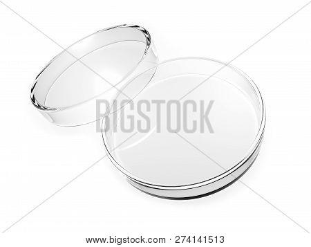 Petri dish isolated on white background. 3d illustration. stock photo