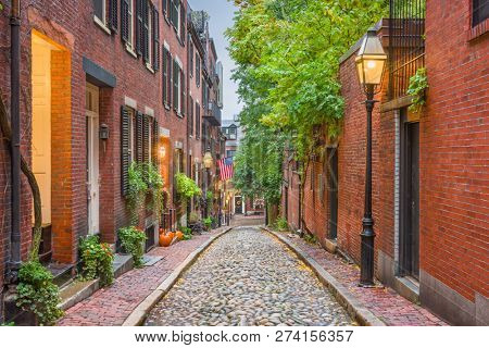 Acorn Street in Boston, Massachusetts, USA.  stock photo