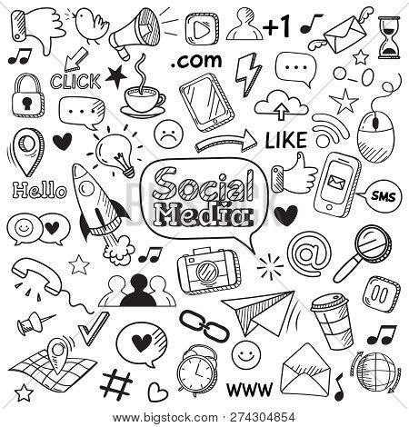 Social Media Doodle. Internet Website Doodles, Social Network Communication And Online Web Hand Draw