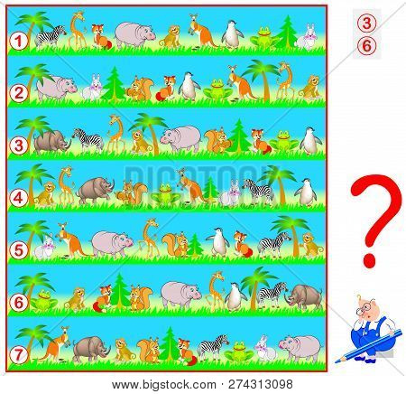 Logic puzzle game for children and adults. Need to find two lines with identical set of animals. Vector cartoon image. stock photo