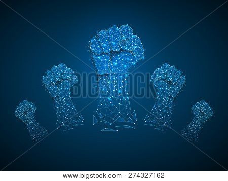 Revolution Sign gesture. Group of Clenched fist raised in air. Victory, solidarity, punch, strike, change protest. Deaf People silent communication alphabet. Vector on dark blue background stock photo