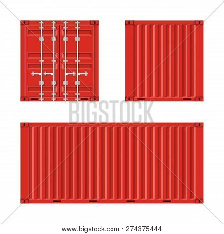 Red cargo container for shipping in flat style. Front, Back and Side view. Transportation Container isolated on white background. Freight Shipping concept. Vector illustration EPS 10. stock photo