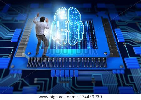 Cognitive computing concept as future technology with businessma stock photo