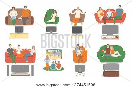 TV television watching, people sitting on couch enjoying film vector. Family and couples spending time at home looking at screen monitor entertainment stock photo