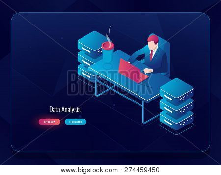 Network server, big data processing, system administrator programmer sitting at the table, future technology, artificial intelligence development AI, dark neon stock photo