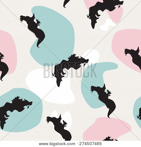 Seamless pattern Sea dragons black silhouette on colorful spots background. Fantasy modern irregular blot print for wall paper or fabric cloth. Abstract animals drawn texture, vector eps 10 stock photo