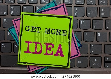 Handwriting text writing Get More Idea. Concept meaning Random Input Mind Map Picture Mock up Surveys Visualization Papers reminders keyboard Inspiration communicate Annotations Type computer. stock photo
