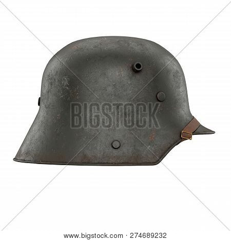German Helmet Stahlhelm M1916 of World War I, used German Troops WW1. Side view. Authentic soldier equipment. 3D render illustration Isolated on white background. stock photo