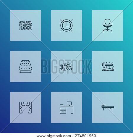 House icons line style set with curtain, ergonomic armchair, daybed and other lounger elements. Isolated  illustration house icons. stock photo