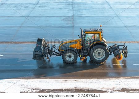 Snowblower special machine for snow removal cleans the road. stock photo