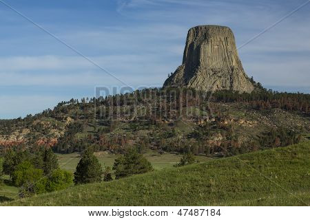A scenic view of Devils Tower National Monument in Wyoming. stock photo