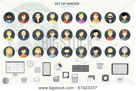 People icons. People Flat icons collection. Set of avatar flat design icons
