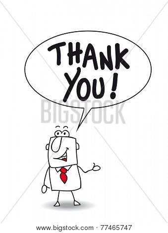 Thank you very much. Joe the businessman says thank you stock photo
