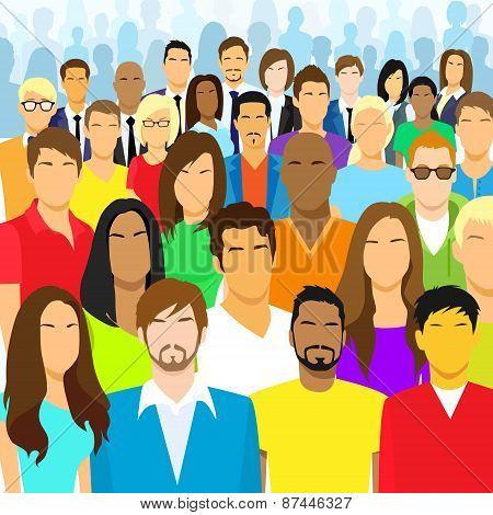 Group of Casual People Face Big Crowd Diverse