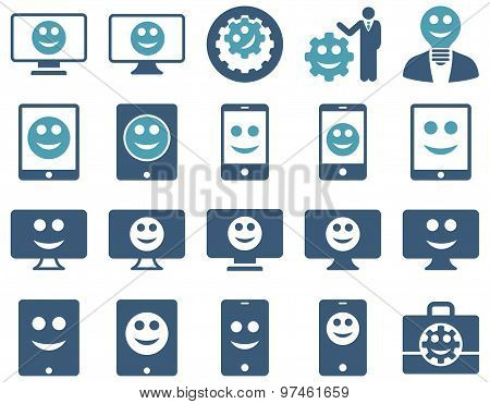 Tools, options, smiles, displays, devices icons. Glyph set style: bicolor flat images, cyan and blue symbols, isolated on a white background. stock photo