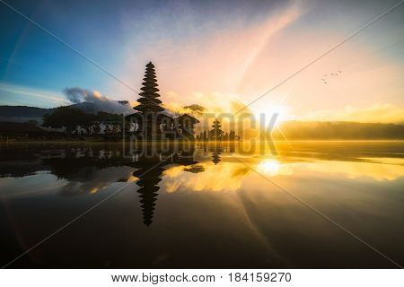 Pura Ulun Danu Bratan bali indonesia Hindu temple on Bratan lake landscape one of famous tourist attraction in Bali Indonesia. Pura Ulun Danu Bratan at sunrise Bedugul Bali Indonesia. Bali Indonesia temple. Bali Indonesia landmark. Bali Indonesia