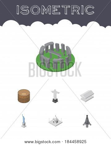 Isometric Architecture Set Of England, India Mosque, Rio Vector Objects. Also Includes America, Mahal, Monument Elements.