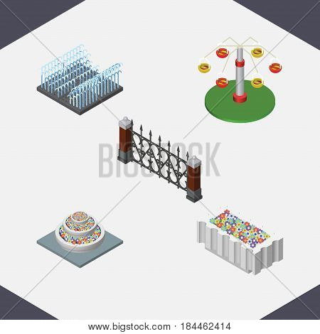 Isometric Street Set Of Flower Decoration, Plants, Swing Attraction And Other Vector Objects. Also Includes Fountain, Park, Fence Elements.