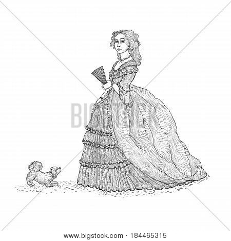 Vector vintage sketch illustration imitating engraving. Gentlewoman Victorian epoch 19th century. The lady in the rich lush dress with crinoline and lace, holding a fan, with a small fluffy lapdog stock photo