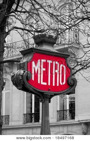 Métro signe pour le transport de métro à paris, france