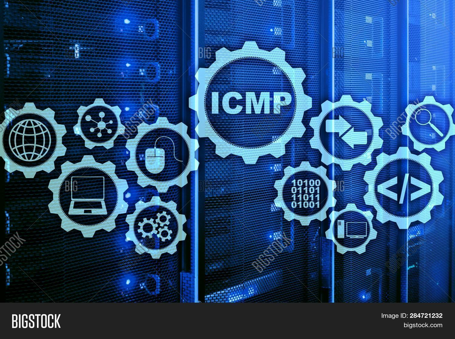 Icmp. Internet Control Message Protocol. Network Concept. Server Room On Background.
