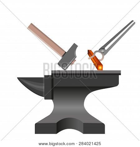 Forging tools. Anvil with hammer and tongs. Vector illustration isolated on white background stock photo