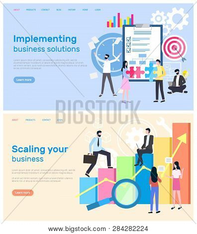 Scaling business and implementation of solution vector. Infographics in visual representation, magnifying glass and charts with global data worldwide results. Website or webpage, landing page in flat stock photo