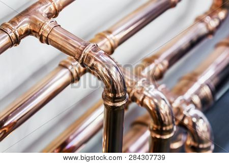 copper pipes and fittings for carrying out plumbing work stock photo