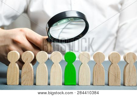 Businessman Searching For New Employees. Staff Recruitment. Select A Person In The Team. Find A Tale