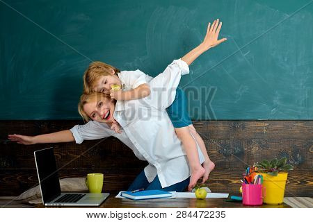 Best Teacher. A Student Loves His Teacher. Fly Together. New Knowledge In School. Interest Education