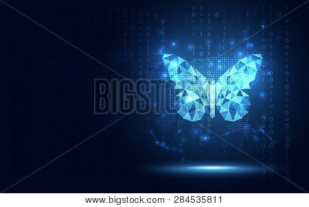 Futuristic Blue Lowpoly Butterfly Abstract Technology Background. Artificial Intelligence Digital Tr