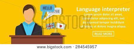 Language interpreter banner horizontal concept. Flat illustration of language interpreter banner horizontal concept for web stock photo