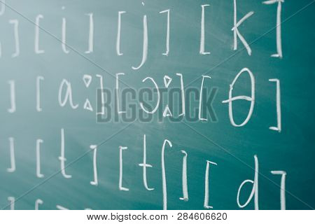 Phonetic and phonemic transcription of any language English class lesson learn. stock photo