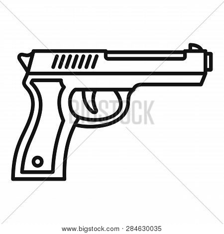 Police pistol icon. Outline police pistol vector icon for web design isolated on white background stock photo