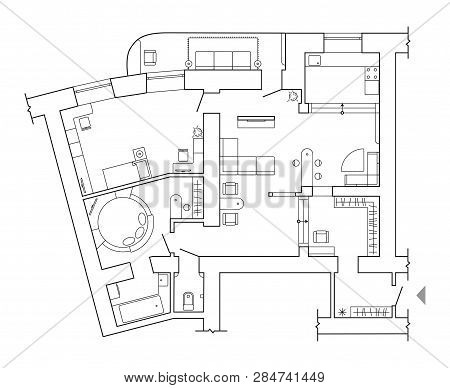 Floor Plan - Top View Plans. Standard Home Furniture Symbols Set Used In Architecture Plans, Home Pl