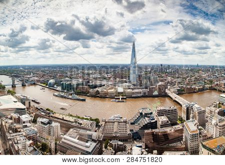 aerial view of South London with London Bridge  Shard skyscraper and River Thames  stock photo