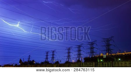 Lightning strike on electricity power lines and sub station in Johannesburg South Africa stock photo